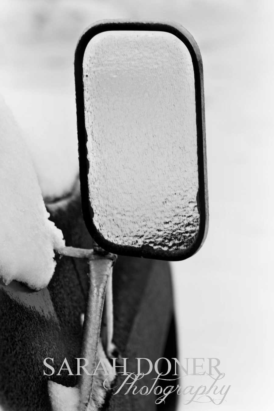 Sarah Doner submitted a photo of ice forming on a vehicle's side mirror.