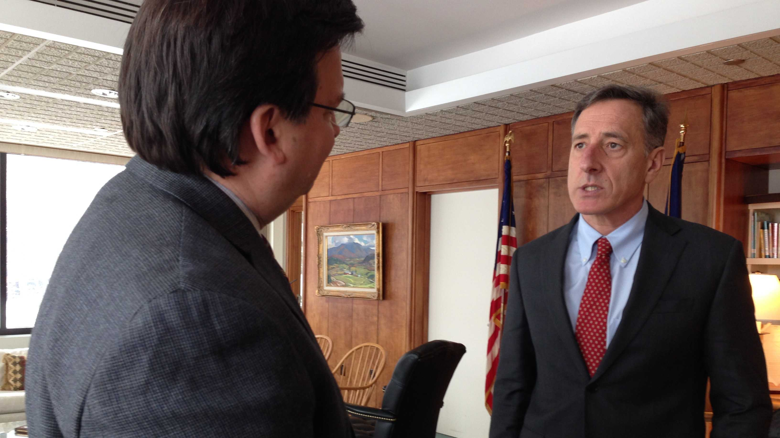 Gov. Peter Shumlin outlines 2014 priorities during an interview Thursday at his Montpelier office.