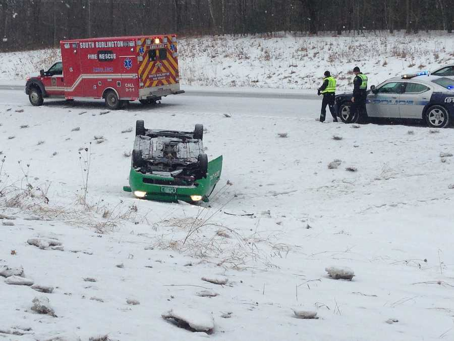 South Burlington Police say a taxi cab driver escaped injury Friday morning when the car slid off from Interstate 89 and rolled over. According to the department, a passerby  helped the driver out of the car.