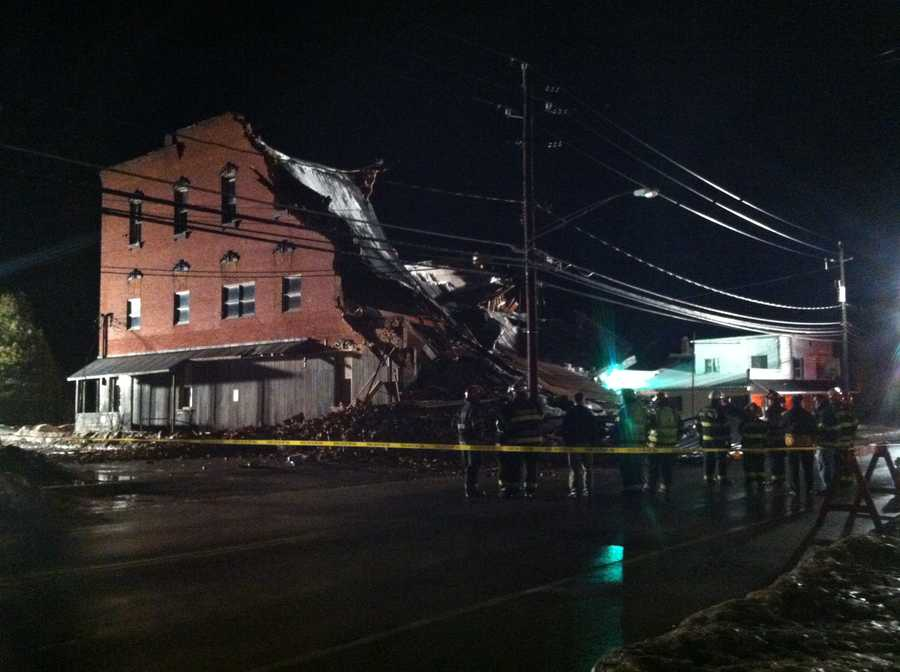 Mooers residents said they were relieved no one was hurt when an old building collapsed Saturday night on Route 11.