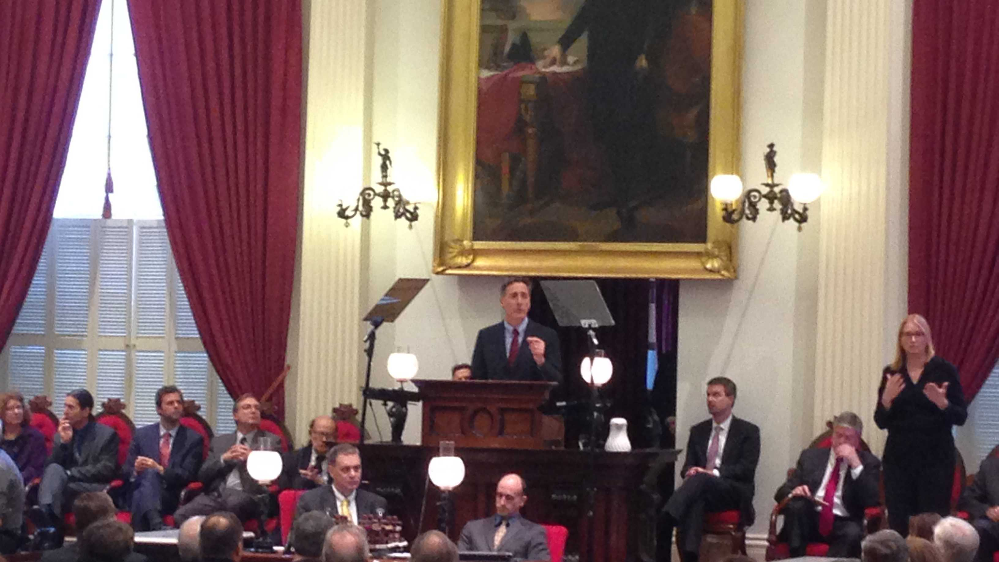 Gov. Peter Shumlin delivers his budget address to a joint session Wednesday in Montpelier.