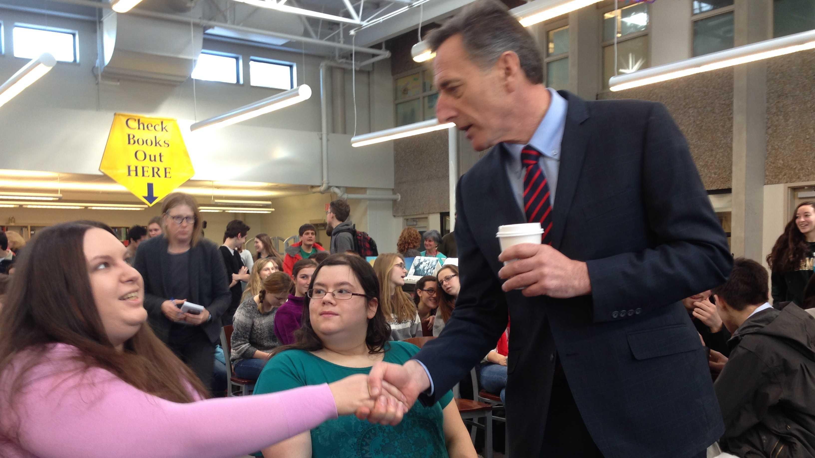 Gov. Peter Shumlin talks with students and teachers Wednesday at CVU in Hinesburg.