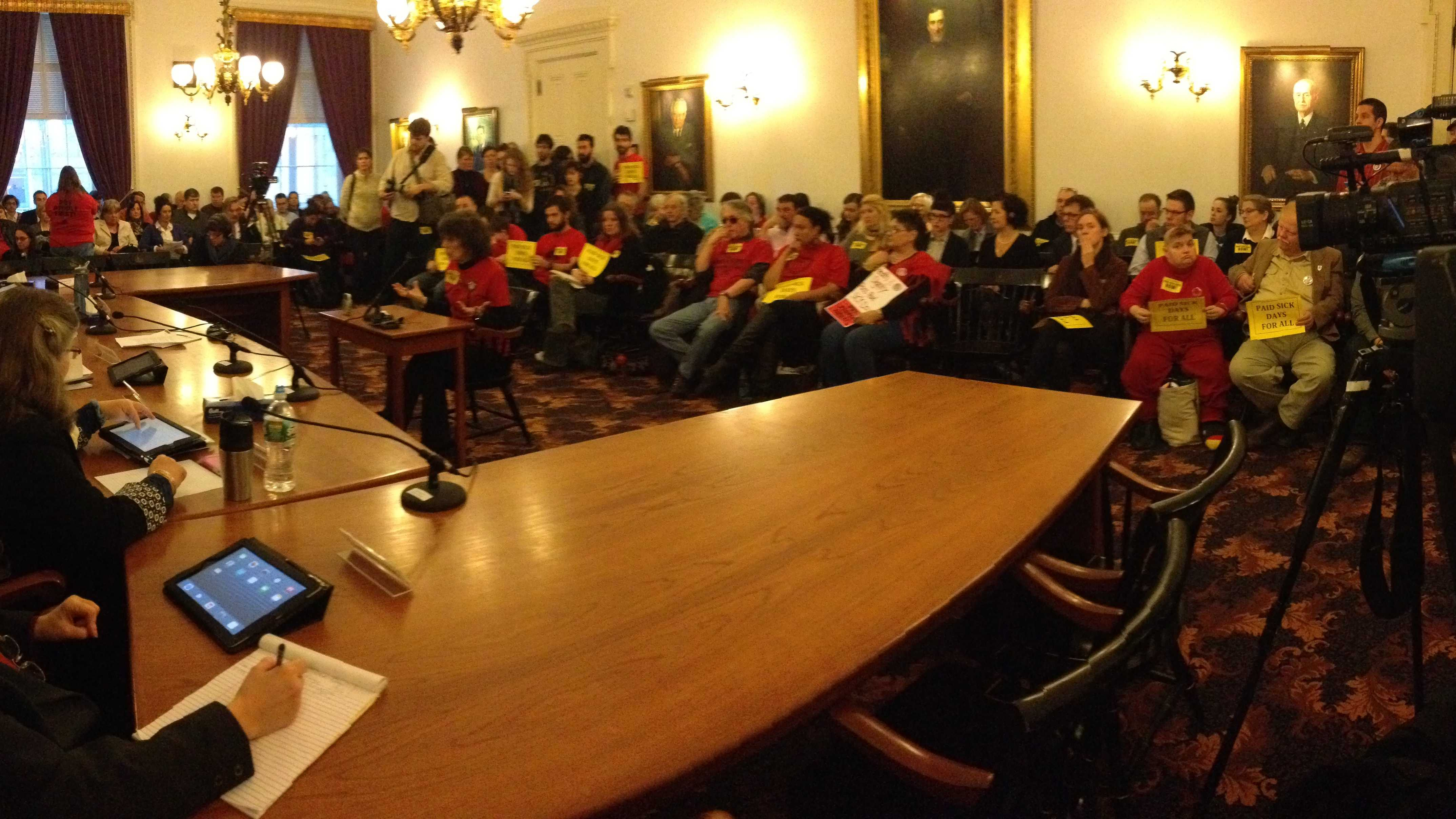 A public hearing at the Statehouse over the paid sick leave bill drew a standing room only crowd.