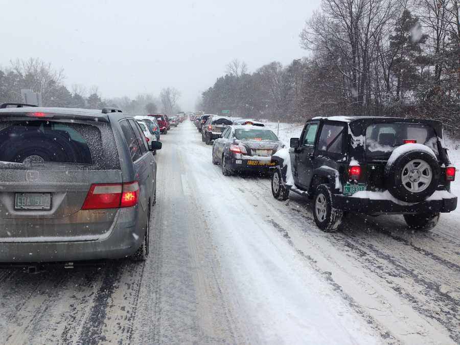 Traffic jam on I-89 Southbound, near exists 15 and 16.