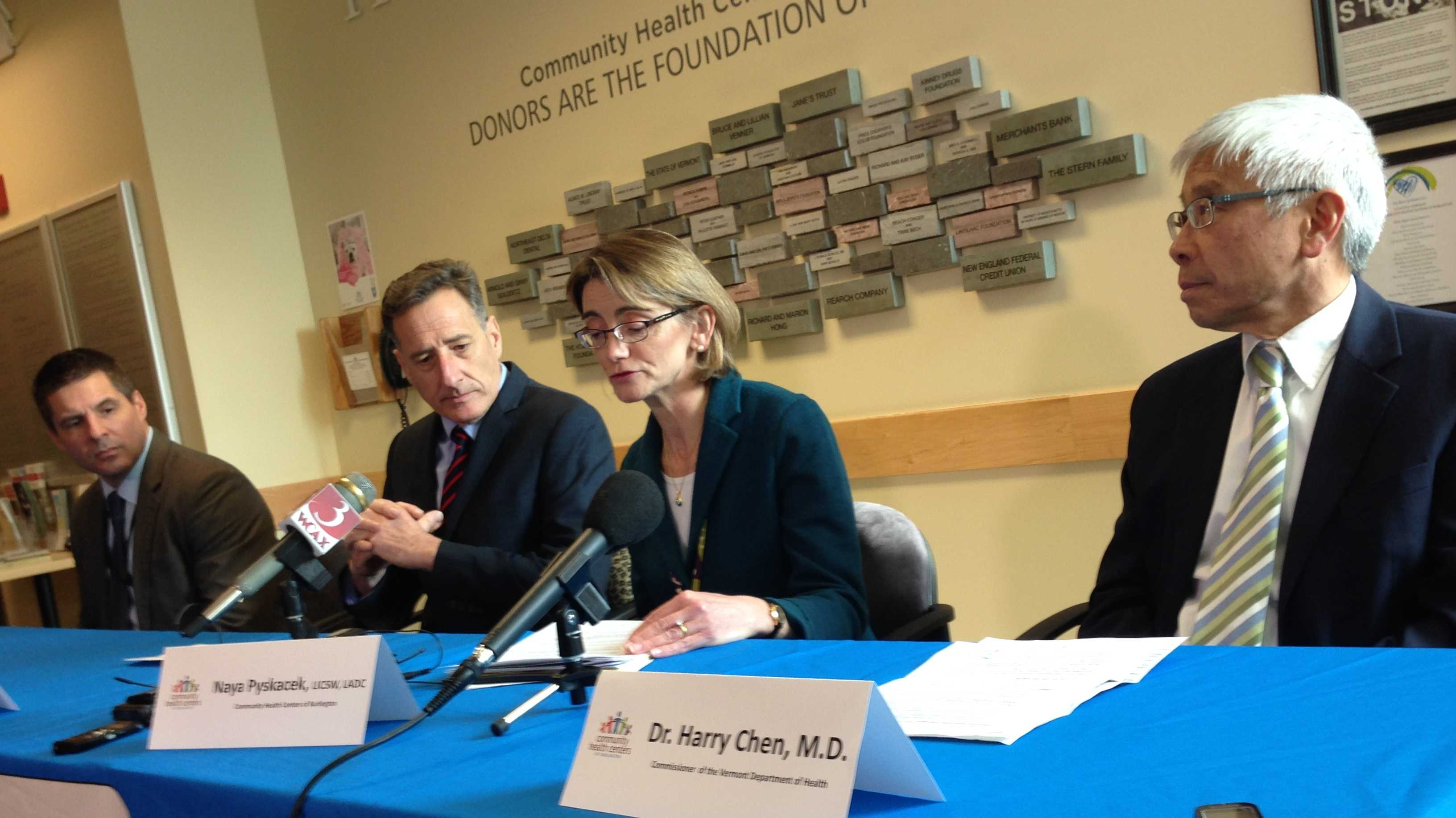 Gov. Peter Shumlin participates in a news conference Friday at the Community Health Center in Burlington regarding a $10m federal health grant. Dr. Harry Chen is at right.