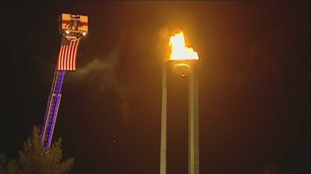 img-Olympic flame in Lake Placid burns again