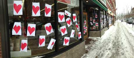 Valentine's Day Phantom strikes again, covering downtown Montpelier with hearts.