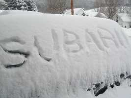 Brenda's Superduck, a 1996 Subaru Legacy Wagon with 227,000 miles, is underneath all of that snow in Tunbridge, Vt.