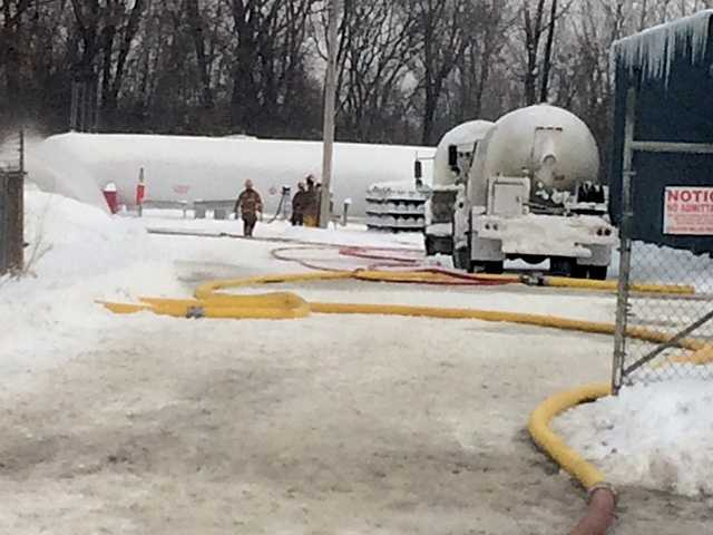 A 330-gallon propane tank was on fire Saturday morning at Liberty Propane in St. Albans, officials said.