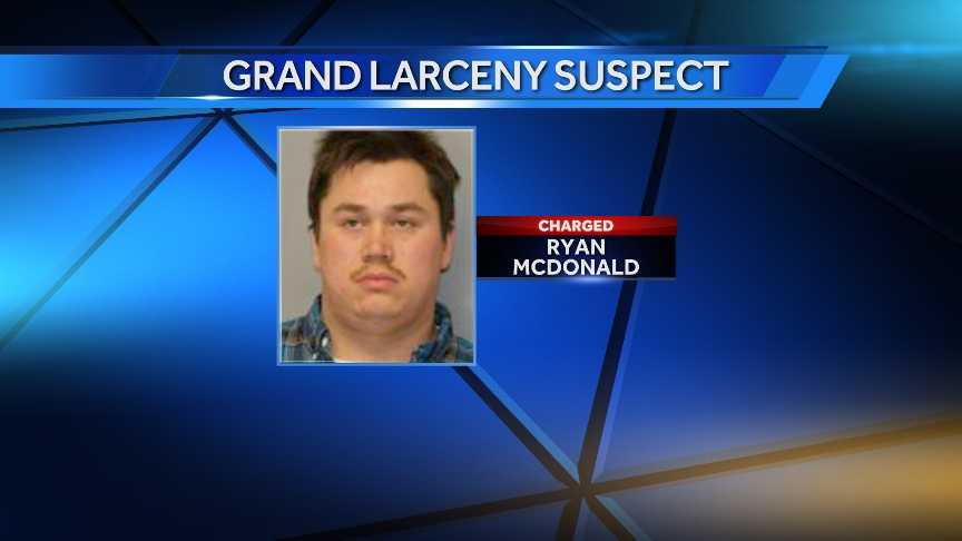 Ryan McDonald, 24, of Hogansburg,  is accused of stealing $5,985.31 from the Hogansburg Fire Department. He is also alleged to have forged the signatures of other members.