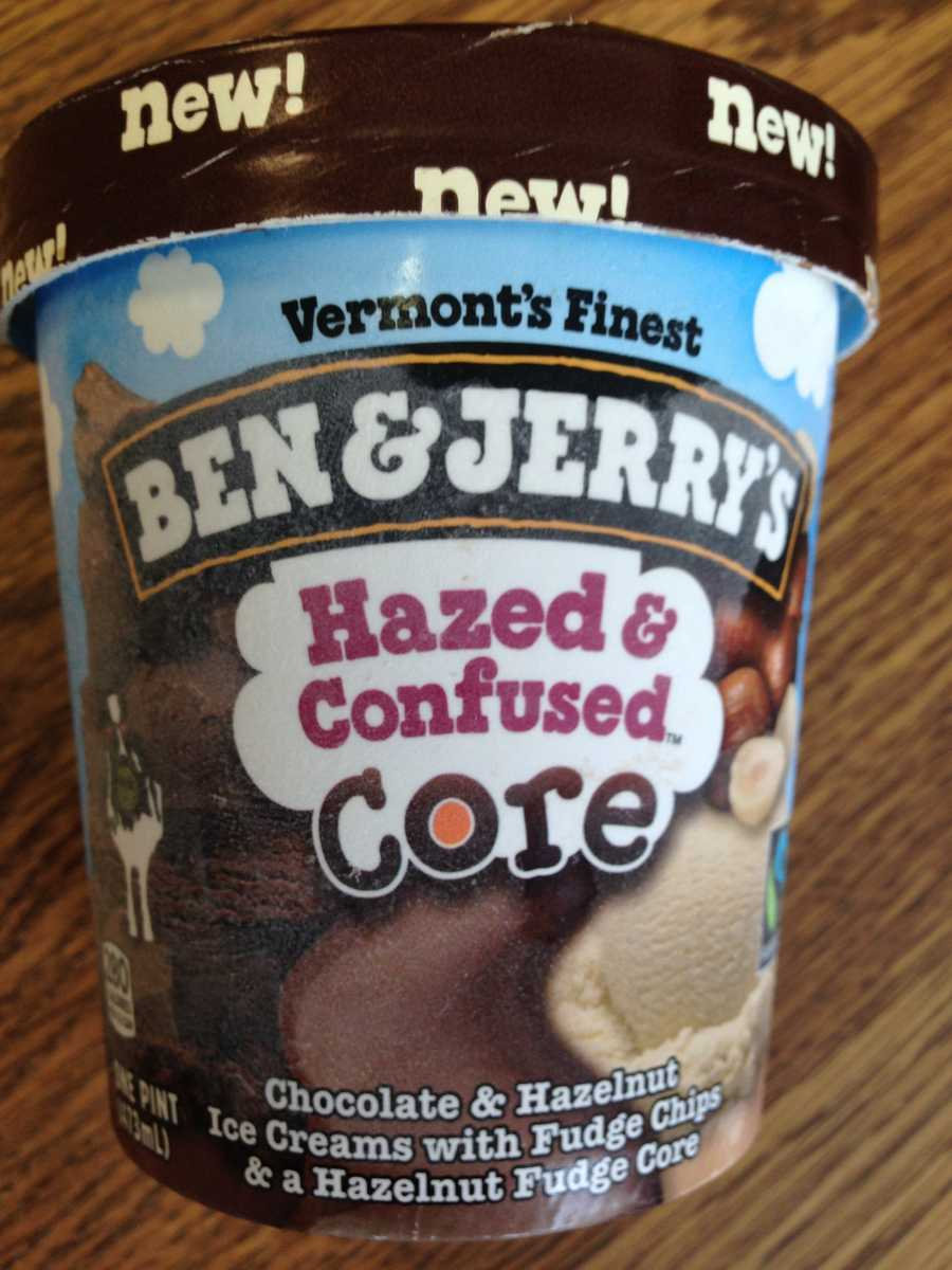 Hazed & Confused: Chocolate and Hazelnut ice creams with fudge chips and a hazelnut fudge core.