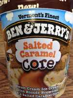 Salted Caramel: A sweet cream ice cream with blonde brownie bits around a salted caramel core.