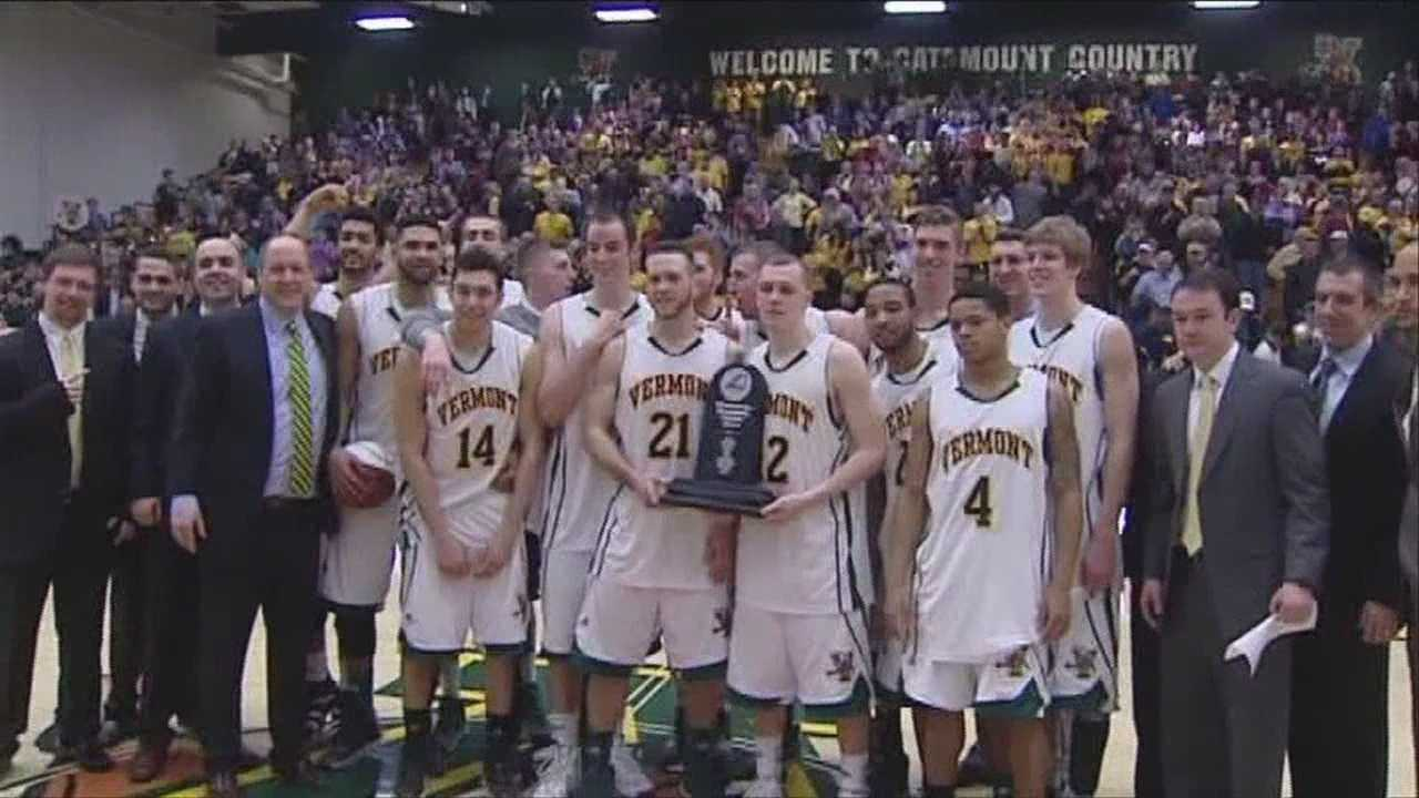 The Vermont men's basketball team beat Stony Brook to clinch the regular season championship.