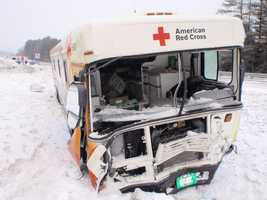 Red Cross Bloodmobile sustained extensive front end damage after crashing through a snowbank on Interstate 89 in Royalton, Vermont, Wednesday morning.