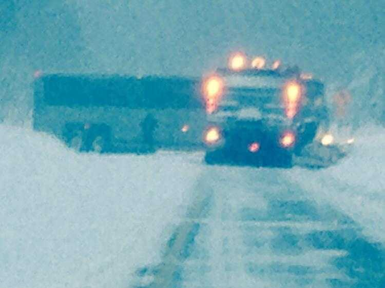 Betsy sent us this shot of the plows pushing away the heavy snow.