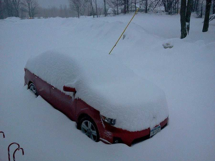 Dawn sent this photo to us. Looks like she has some digging out to do.