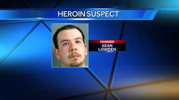 Sean Lowden, of Springfield, Vermont, was arrested and charged with possessing 78 bags of heroin discovered during a traffic stop on I-91 on Thursday.