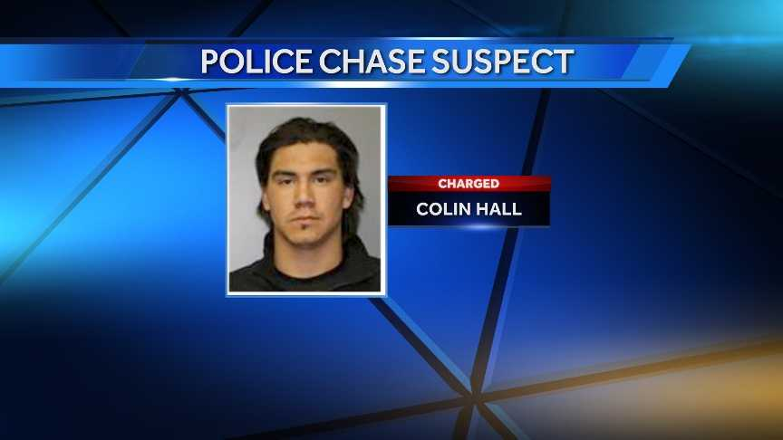 Colin Hall, 27, of Akwesasne, Ontario, was charged with multiple traffic/driving related offenses stemming for a car chase in Massena, NY early Sunday morning.
