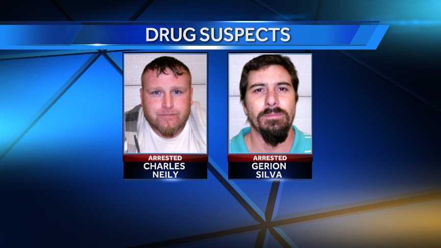 Charles Neily, 31, and Gerion Silva, 39, were arrested after Canaan police seized heroin, cocaine, marijuana, guns and cash during the execution of a search warrant on a home on Maple Road.
