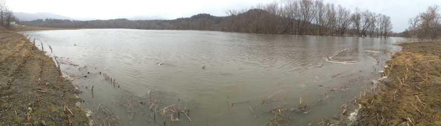 A view of the flood fields near Quarry Hill Farm in Jeffersonville, Vt.