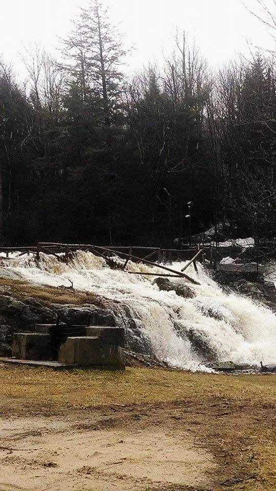 Campsites in St. Regis Falls after the dam gives out.