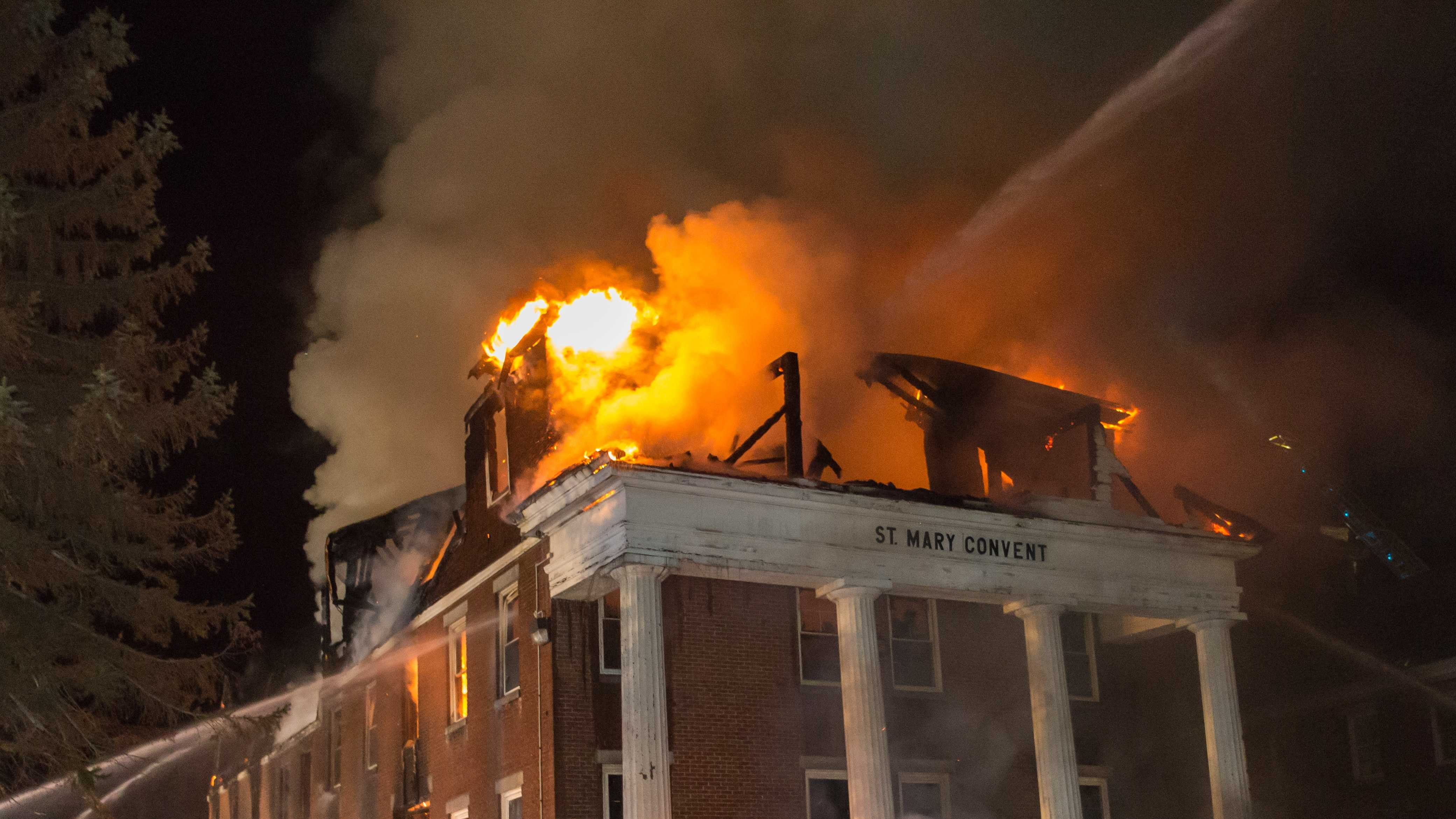 Flames destroy old convent in Claremont