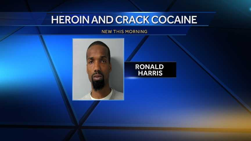 Ronald Harris, 22, was taken into custody on charges of possessing cocaine and heroin trafficking.