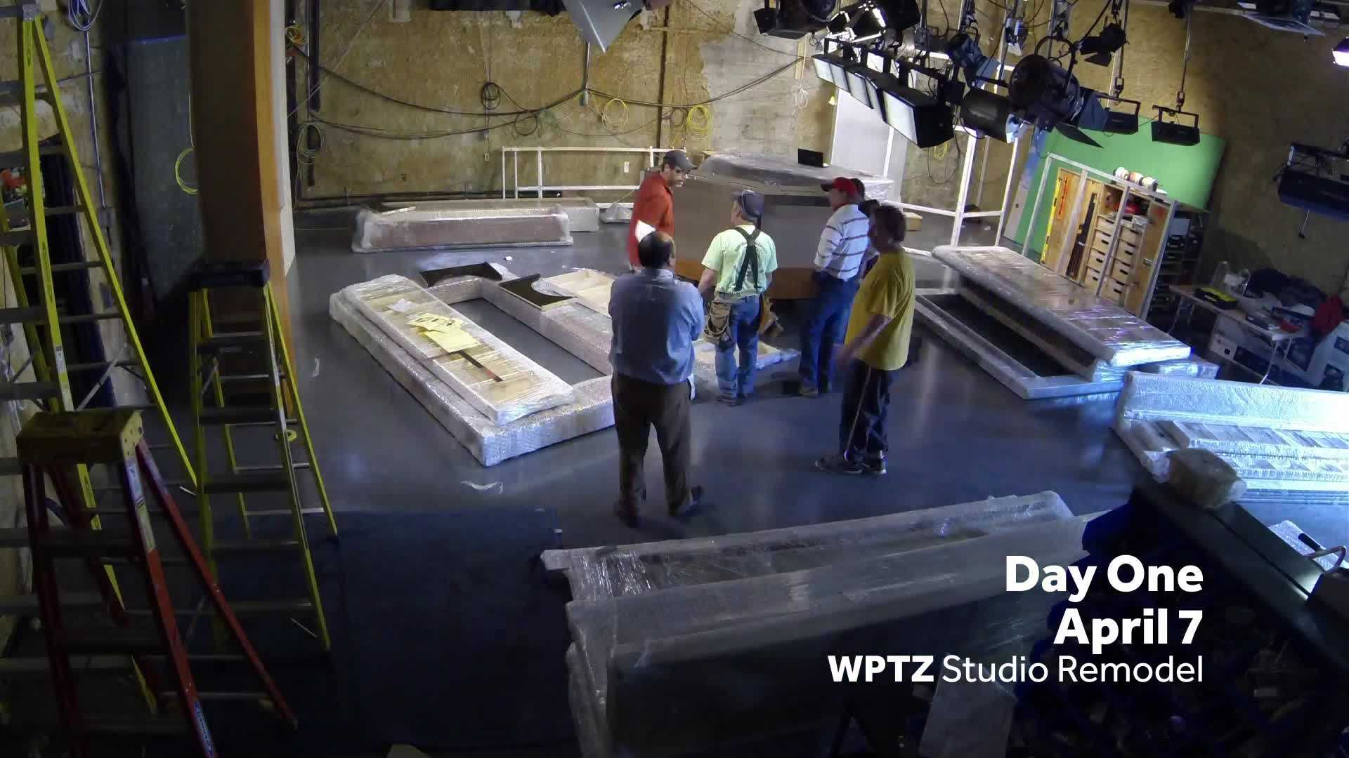 Day one of WPTZ's studio renovation.