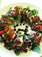 Abigail Curran, weekend morning producer, paired tomato, basil and mozzarella for a divine appetizer.
