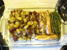 Abigail Curran, weekend morning producer, baked lemon rosemary chicken with a side of garlic roasted green beans and roasted red potatoes.
