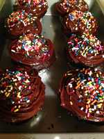 Bridget baked these chocolate cupcakes, with chocolate ganache, and chocolate peanut butter frosting. She made these especially for Jack Thurston's birthday.