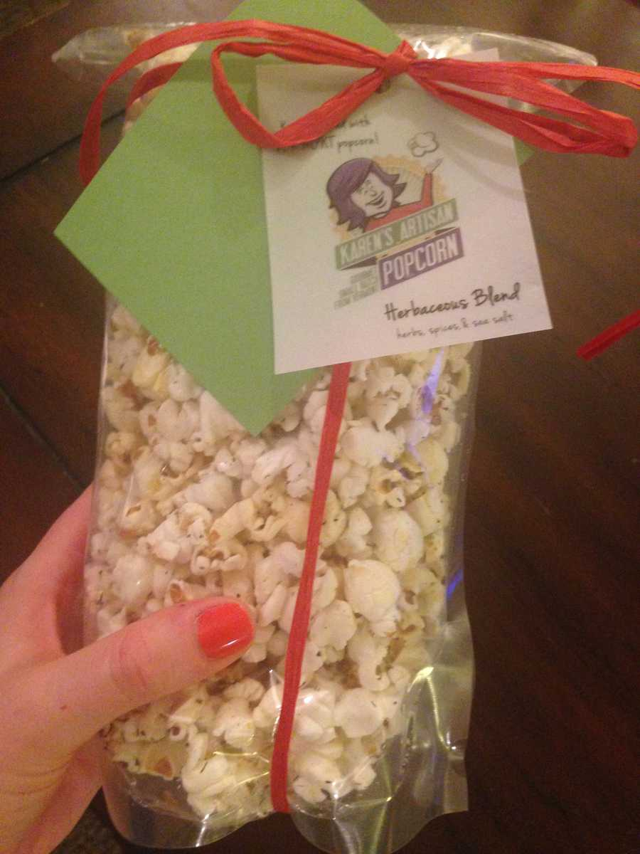 Bridget says: My favorite specialty popcorn made in Vermont. This bag was gone in minutes. I highly recommend Karen's Artisan popcorn in Herbacious Blend.