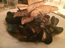 Mussels Arrabiata at the Farm House, Burlington.