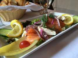 Smoked salmon & goat cheese salad, La Sauvagine, Montreal