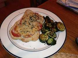 Homemade vegan whole wheat pizza with grilled zucchini.