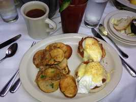 Ashley dined on a Chesapeake Benedict from Clyde's Restaurant in Georgetown, DC.