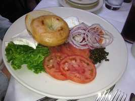 Smoked salmon bagel with capers from Clyde's Restaurant in Georgetown, DC.