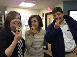 Bridget, Vanessa, and Dave enjoy the spoils of Dave's trip to Luigi's.