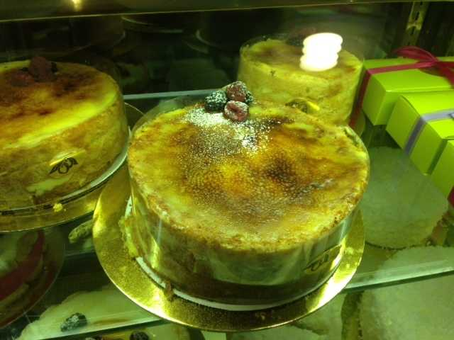 Mirabelle's Crème brûlée cake -- vanilla cake, custard and caramel. Like the name implies, it's light, but still cake-y. Sinan says it's a good alternative if for some unknown reason you don't want chocolate cake.