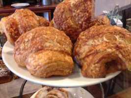 Croissants of any kind at Mirabelle's. Sinan says good food can take you to a time or place. Every time he has one of these buttery, flaky creations, in his mind he's transported to Montreal while sitting on Main Street.