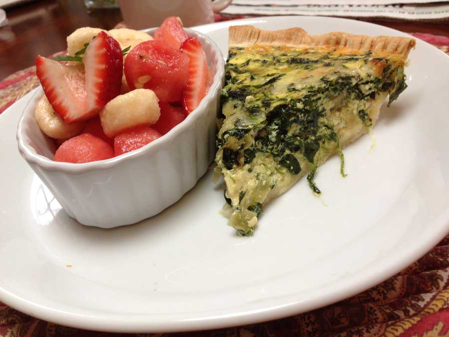 Stewart enjoyed a slice of quiche and a side of strawberries and banana's at a Sunday brunch in Winooski.
