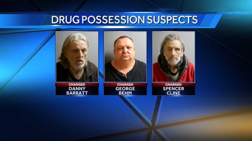 St. Albans Police charged Danny Barratt, George Behm, and Spencer Cline, with possession of drugs after police searched a Federal Street residence following an overdose. Police say they seized heroin, crack-cocaine, and dilaulid.