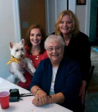 This photo was taken on Mother's Day 2013. It's 3 generations! My grandmother- Marita, my Mom- Kathy, and me (with my fur-baby Doppler!)