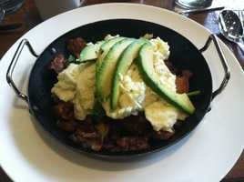 Abby says she was eating healthy on vacation with a superfood breakfast skillet at the Westin in Phoenix AZ. It had avocado, egg whites, spinach, onions, peppers and some crispy potatoes. She was full all day!