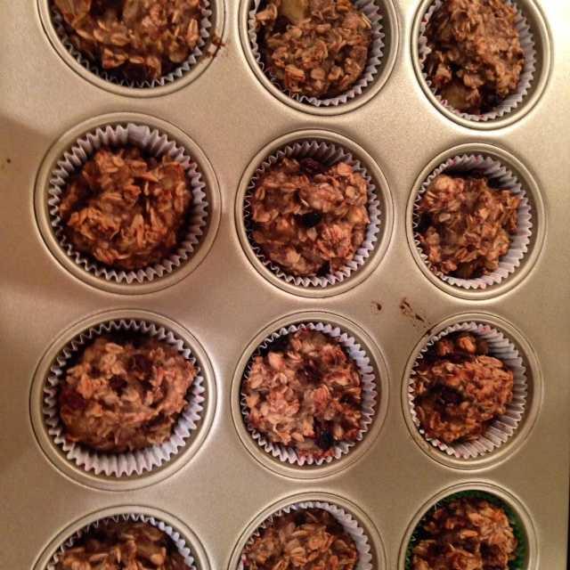 Baked banana raisin oatmeal muffins. - Alison Carey