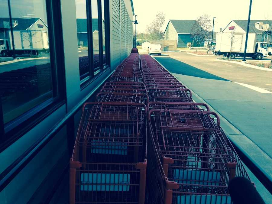 Carts at the back entrance are ready to go.