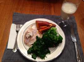 Lemon pepper haddock with broccoli, spinach and a sweet potato drizzled in coconut oil and a dash of cinnamon. - Alison Carey, reporter