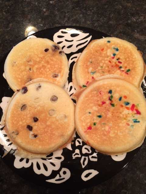 Here's a picture of pancakes I made for my daughters before school. Chocolate chip for one twin, sprinkles for the other. Yummy way to start the day. They had fruit too, but that doesn't photograph as well! - Stephanie Gorin, anchor