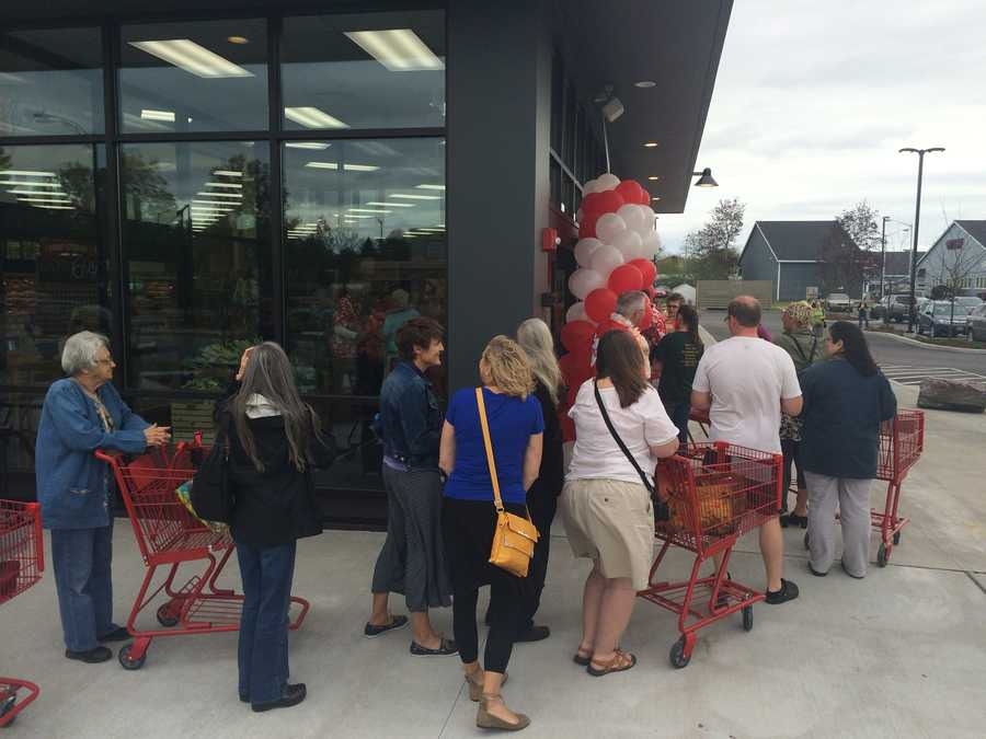 Trader Joe's line wraps around the building on opening day.