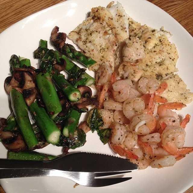Shrimp, fish and asparagus and mushrooms. - Ana Skidmore, producer